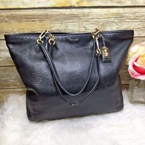 Coach Madison North South Black Leather Tote Bag